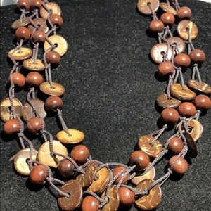NEW YORK & CO COCONUT SHELL & WOOD BEAD NECKLACE